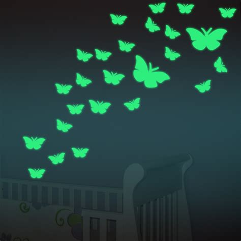 dagou 12 pcs 3d luminous 12pcs set butterfly luminous stickers decorative wall