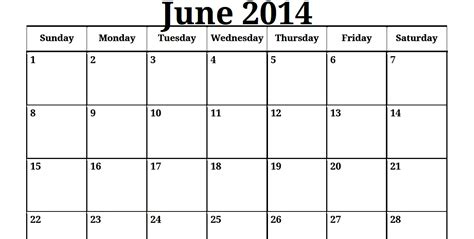 June 2014 Calendar Best Photos Of June 2014 Calendar Printable June 2014
