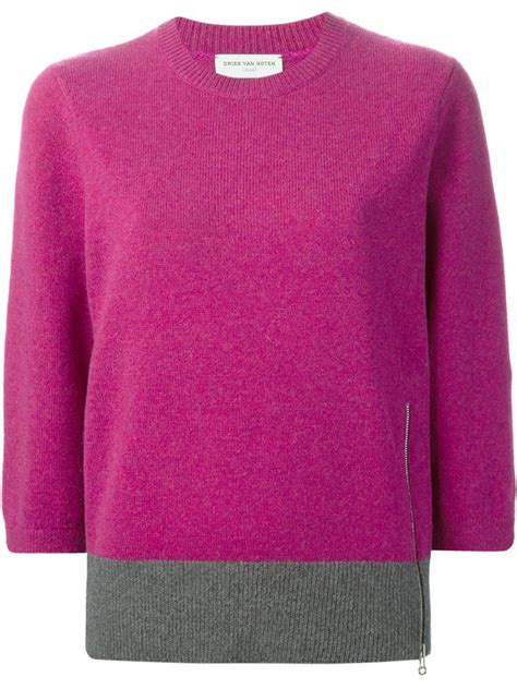 Sweater Tone You dries noten two tone sweater in pink lyst