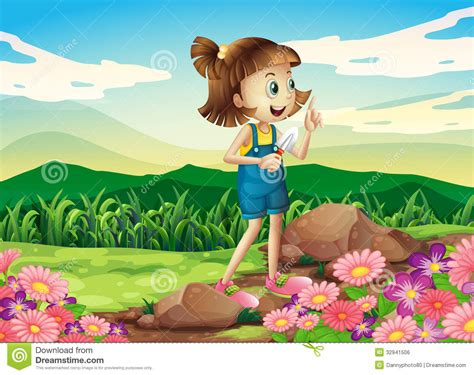 A Girl Holding A Shovel At The Flower Garden Royalty Free Stock Image   Image: 32941506