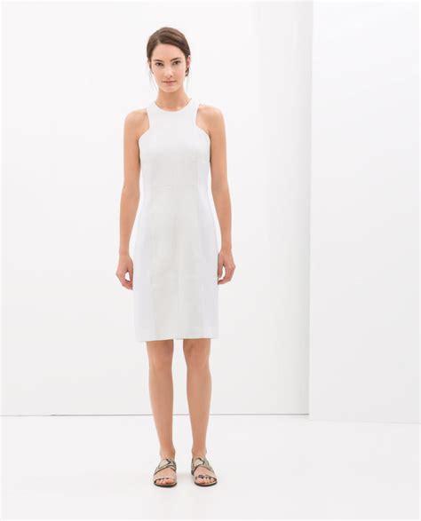 White Zahra zara combined shift dress loathing los angeles