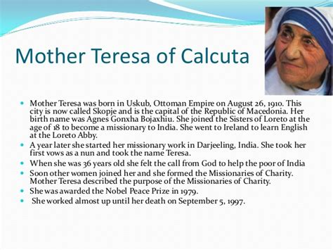 biography of mother teresa ppt essays on mother teresa agenda journal entry superbowl