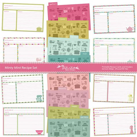 printable recipe index card dividers 8 best images of recipe book dividers free printables