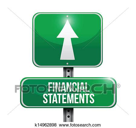 Clip Art of financial statements road sign illustrations