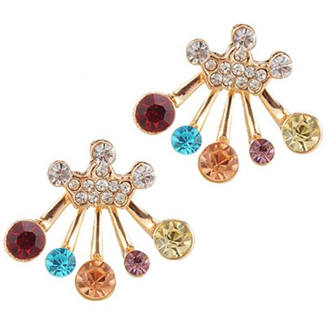 Decorated Crown Shape Design T56bd5 delicate multicolor decorated crown shape design alloy stud earrings asujewelry