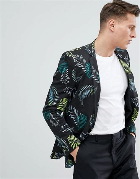 asos design asos blazer in cotton with palm print
