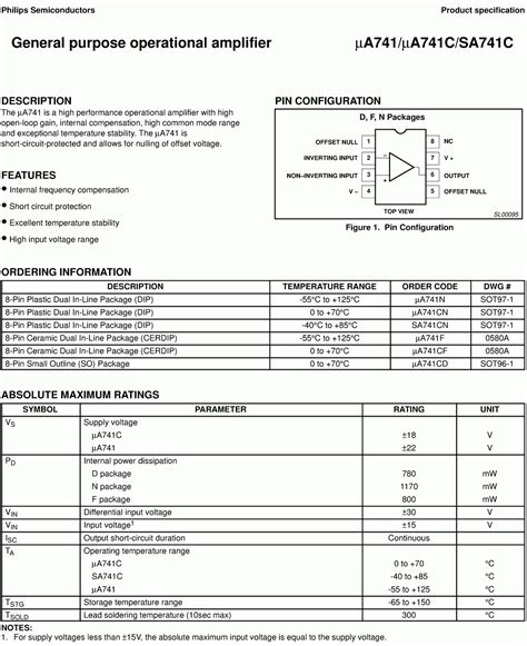transistor op 741 op data sheet images