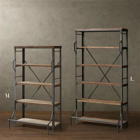 loft shelving american retro style furniture wood industry loft bookcase
