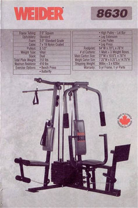 home weider 8630 system for sale from surrey