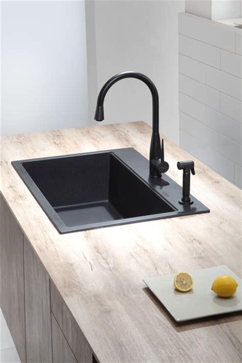 Kraus Usa Sinks by Kraus Kgd 412b Dual Mount Single Bowl Black Onyx Granite