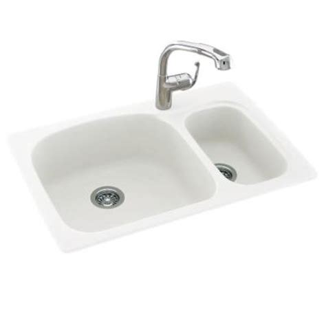 small bowl kitchen sink dual mount composite 33 in 1 large small bowl
