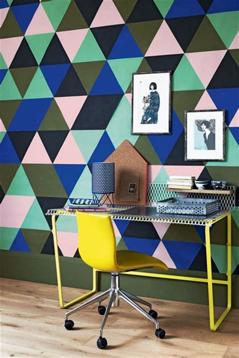 pattern feature wall paint harlequin pattern feature wall ideas bedroom