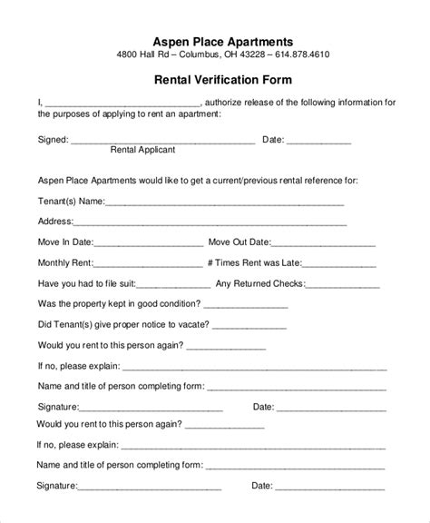 10 sle rental verification forms sle templates