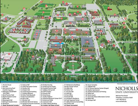 louisiana college map cus map about nicholls