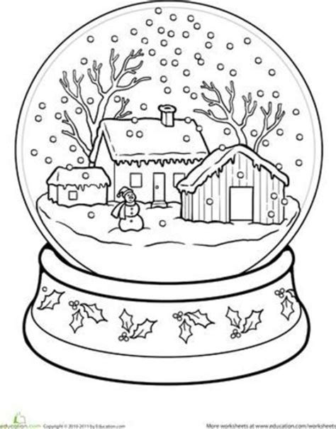 worksheets snow globe coloring page preschool items