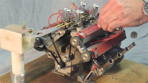 working mini v8 engine kit schillings v8 80cc model engine running with great sound