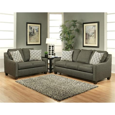 Stoke Grey Polyester 2 Piece Sofa And Loveseat Set Free