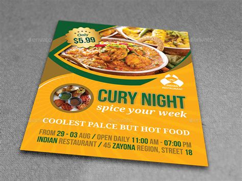 Indian Restaurant Flyer Template By Owpictures Graphicriver Restaurant Flyer Template