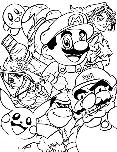 smash bros free coloring pages
