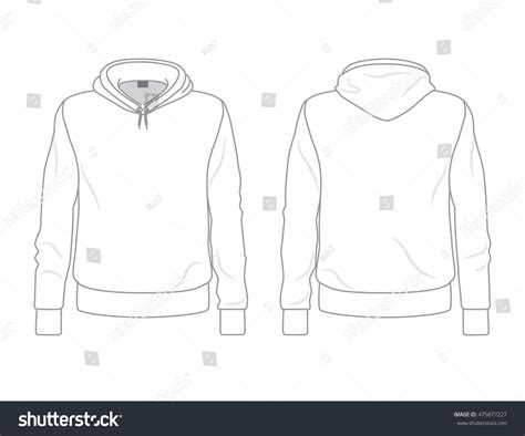 hoodie template s hoodie template front and back view stock vector