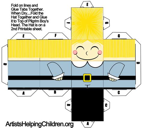 Papercraft Templates Printable - how to make a pilgrim boy out of paper with printable