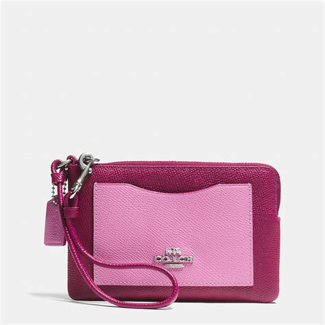 Zip Wristlet lyst coach corner zip wristlet in colorblock crossgrain