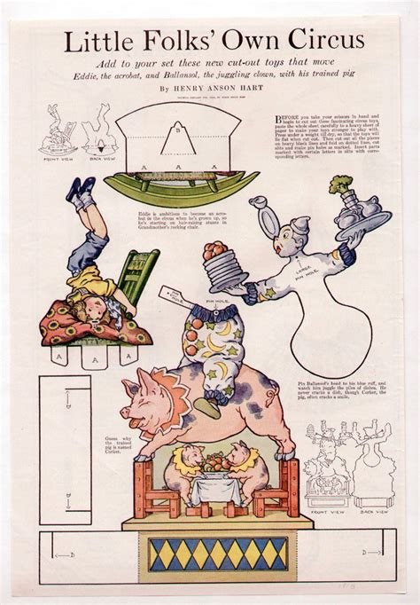 printable juggling instructions vintage little folks circus paper dolls 1920 uncut trained