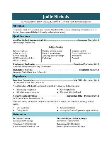 medical assistant resume resumess franklinfire co