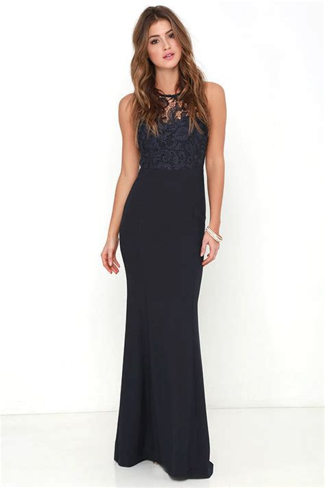 Maxi Dress Bordier Lulu navy blue gown lace dress maxi dress 78 00