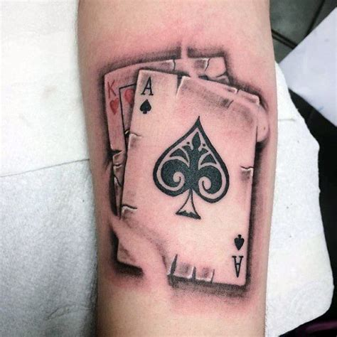 card tattoos king of hearts with ace of spades mens card arm