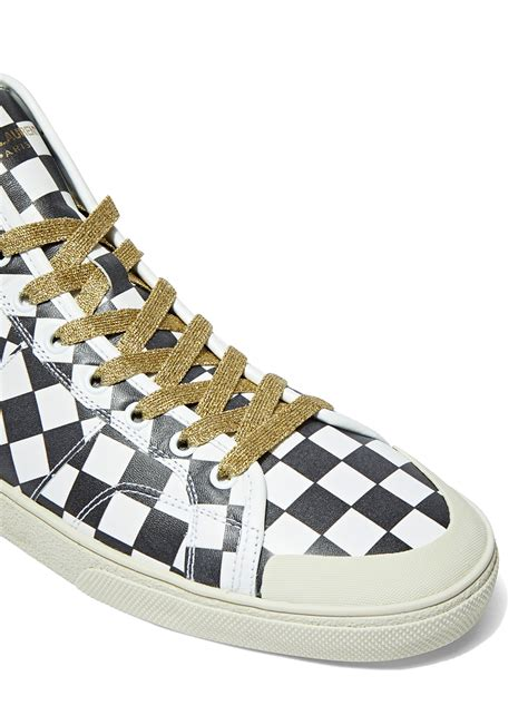 laurent sneakers mens laurent s checked high top sneakers in black and