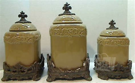 beige fleur de lis ceramic kitchen canisters set 3 by american atelier ebay 3 pc drake design 3401 hand crafted lrg ceramic canister