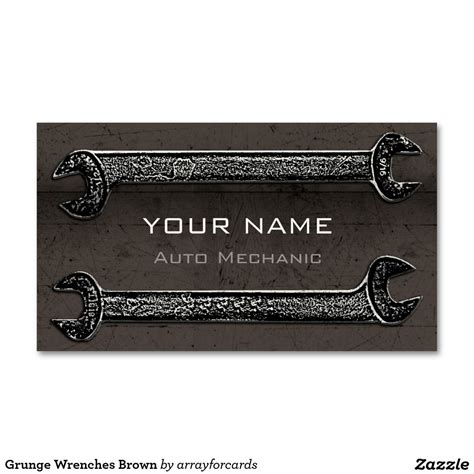 wrench business card template grunge wrenches brown business card grunge wrenches is a