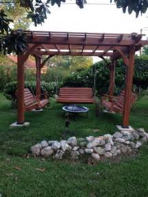 Pergola Fire Pit by Fabulous Pergola With Swing And Fire Pit Garden Landscape