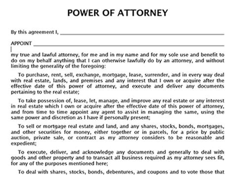 power of attorney template canada true help free forms