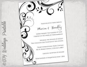 wedding invitation templates words wedding invitation templates black and white