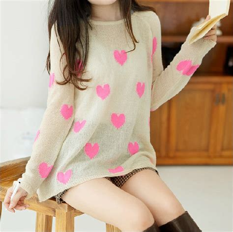 cute patterned sweaters cute heart pattern loose knitted sweater on luulla