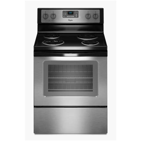 Shop Whirlpool Freestanding 4 8 Cu Ft Self Cleaning Electric Range Black On Stainless Common