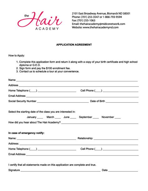 Employment Application Form For Hair Stylist Employment Application Free Salon Application Template
