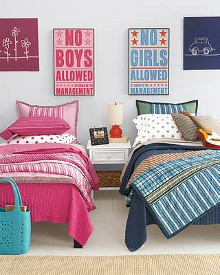 boy and girl love in bedroom decorating a shared kids room