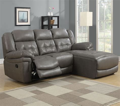Dark Grey Bonded Leather/Match Reclining Sofa Lounger