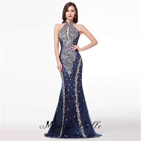 desain long dress elegan mermaid elegant long evening dresses 2017high neck navy