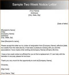 Resignation Letter Two Weeks Exle 10 2 Weeks Notice Sle Academic Resume Template