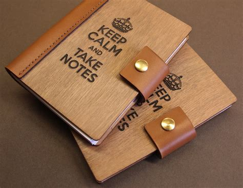 leather and wood notebook cover laser engraved etched art