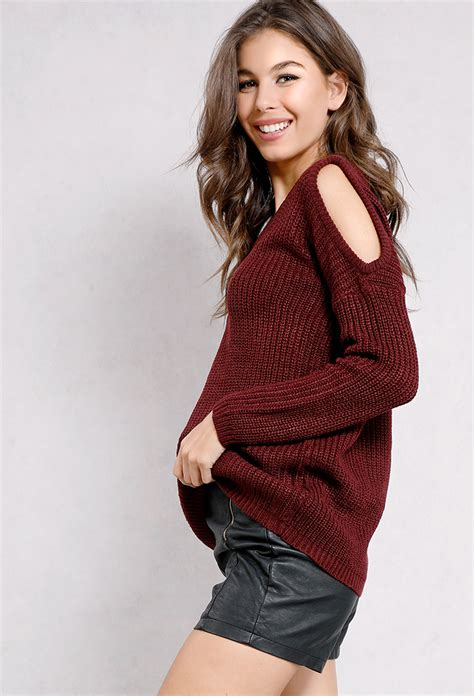 shoulder knit sweater open shoulder knit sweater shop new and now at papaya