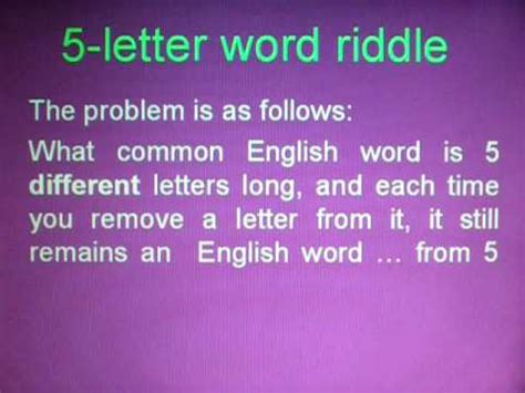 4 Letter Words Riddle 5 letter word riddle