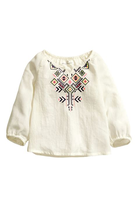 Frozon Hm 7y Sale embroidered blouse white sale h m us