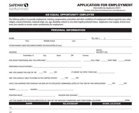 safeway application form safeway application pdf print out