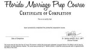 Premarital Counseling Certificate Of Completion Template by Fl Marriage Prep Certificate V2 Florida Based