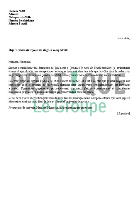Exemple De Lettre De Motivation Pour Un Stage Juriste Lettre De Motivation Pour Un Stage En Comptabilit 233 Pratique Fr